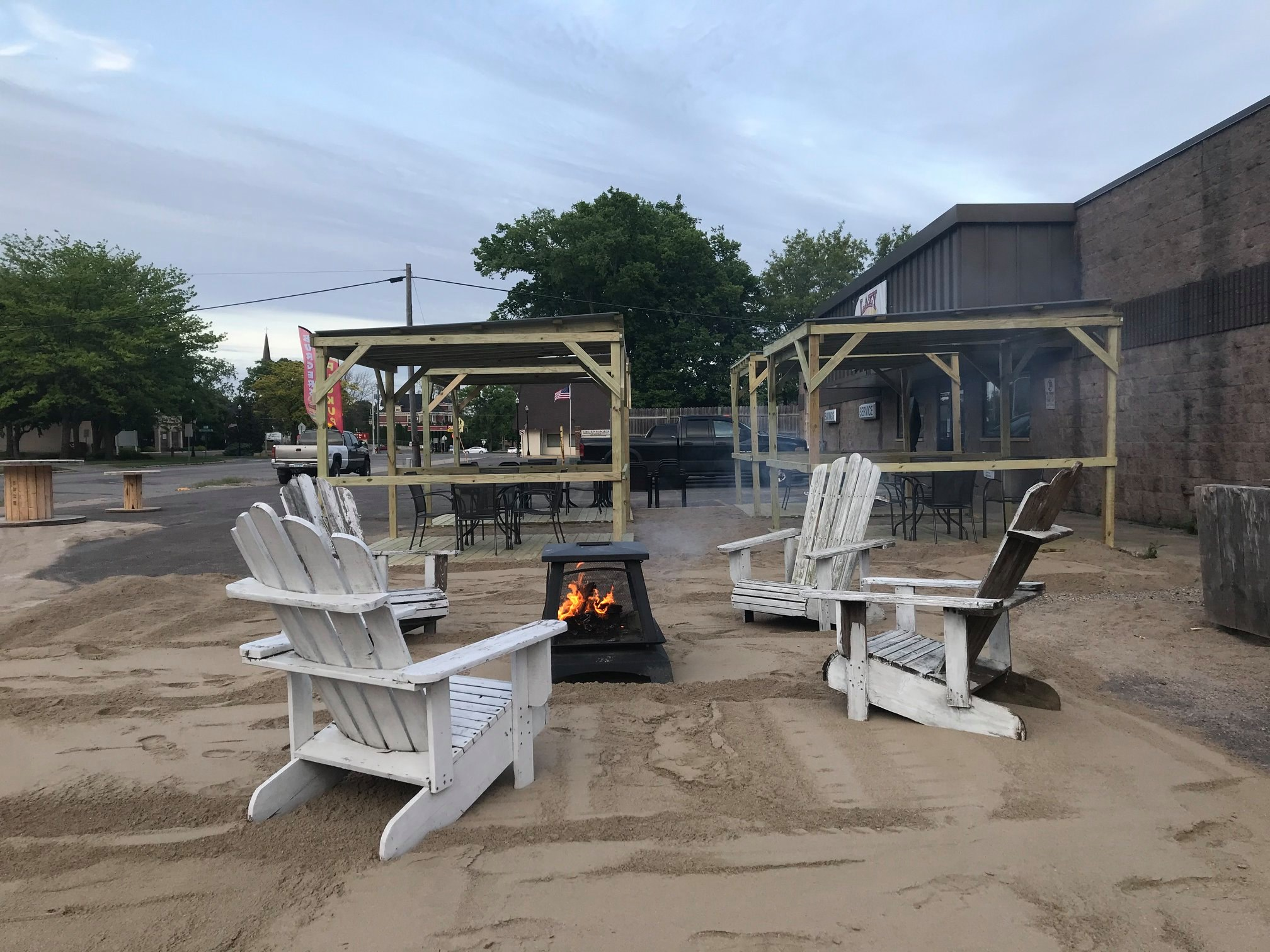 The outdoor patio area built at Lazy Loon Brewing during the coronavirus pandemic // Photo via Lazy Loon's Facebook